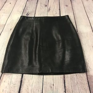 Ann Taylor Genuine Black Leather Skirt Size 2
